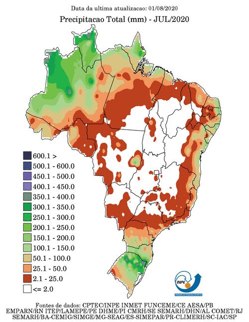 Precipitação total em junho/2020; CPTEC