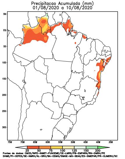 Precipitação Acumulada Agosto; Chuvas
