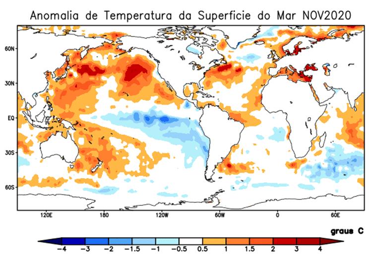 anomalia de temperatura da superfície