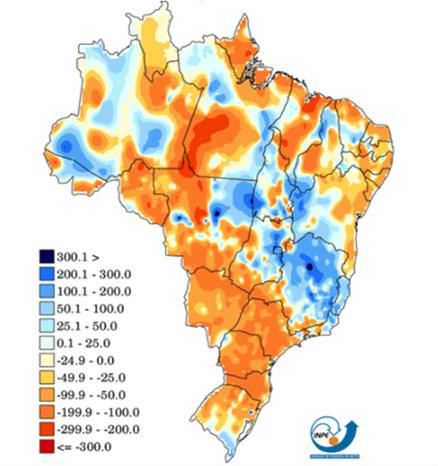 Mapa de anomalias de precipitação