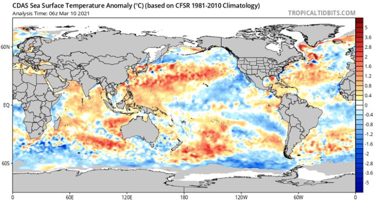 Anomalias da Temperatura da Superfície do Mar - TSM